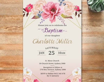 Baptism Invitation, baptism invite, girls baptism invite, Christening invitation, Christening invite