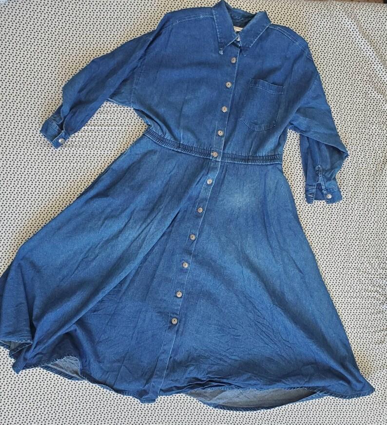 80s Vintage Women/'s Denim Dress by Alain Toussaint