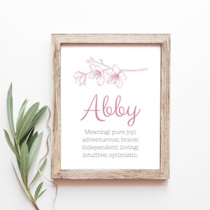 Abby Baby Name Meaning Baby Names Nursery Sign Girl Names