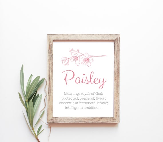 Paisley Baby Name Meaning Baby Names Nursery Sign Girl Names