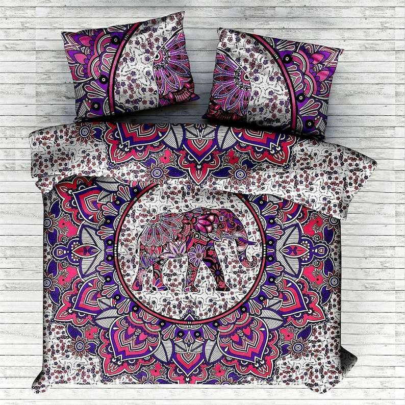 Indian Mandala Duvet Cover Ring Elephant Doona Cover Quilt Cover With Pillow Covers Hippie Bohemian Reversible Quilt Cover Bedding Set
