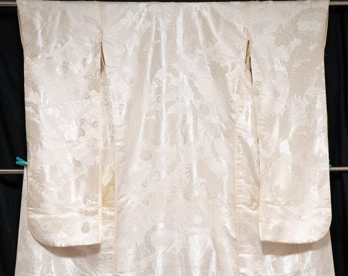 Featured listing image: Shiny Phoenixes Bright Off White Uchikake - Wedding Kimono Long Japanese Bridal Dress Gown - Seven Treasures Shippo Gorgeous Designs Flowers