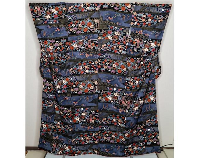 Featured listing image: Amazing Colorful Silk Kimono - Deep Blue High Quality Traditional Japanese Women's Robe - Peonies Botan Cherry Blossoms Sakura Shiny Gold