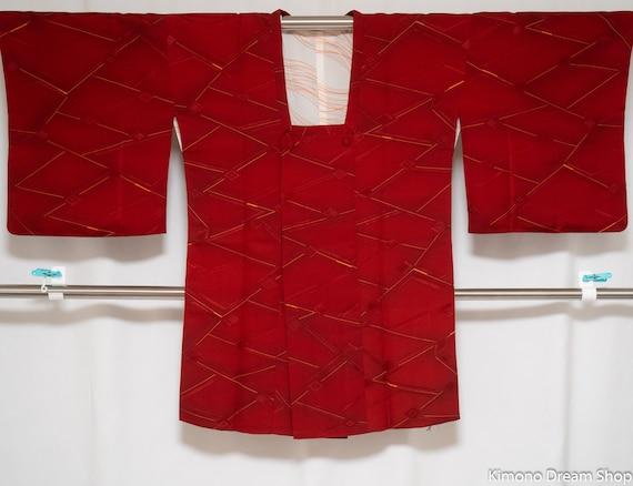Red Silk Haori with Pocket - Vintage Kimono Jacket