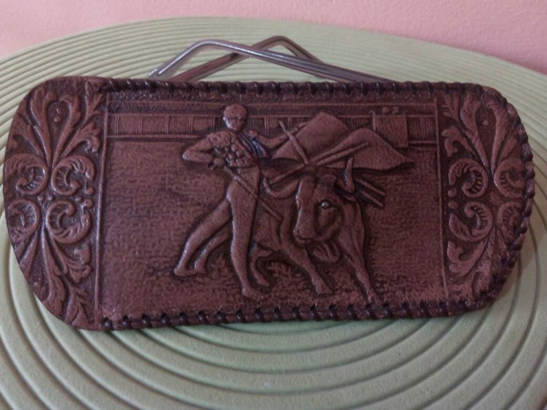 and Spanish Dance! LEATHER SPANISH CARVED Case,Bag,Purse for Glasses Unique Handmade with Beautiful Motifs of Fighting Matador and Taurus
