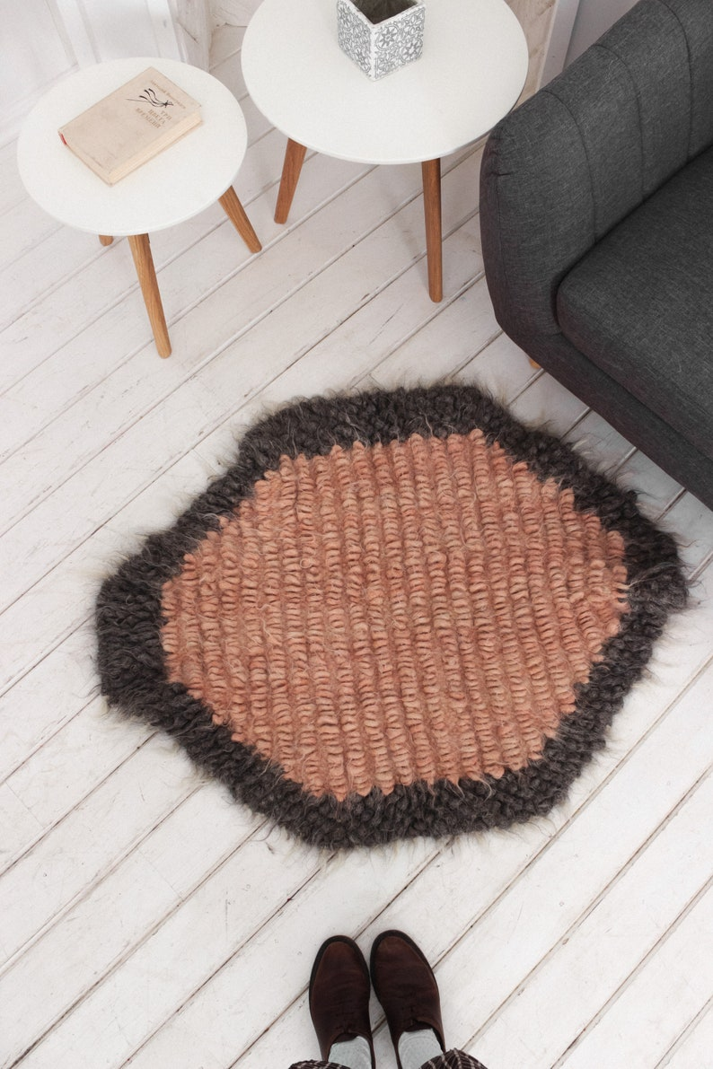 100/% Wool Rug Rag Bedroom Floor Throw Scandinavian Small Area Carpet Fluffy Natural Farmhouse Round Handwoven Mid-century Scandi  Rug Runner