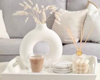 Large Donut Vase | Nordic | Flat Vase | Minimalist | Dried Flowers | Doughnut |Circle Vase | vases for pampas grass
