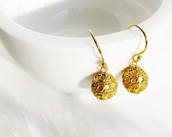 9ct 9k Gold Filled Filigree Earrings 35x15mm Nickle Free Not Easy To Tarnish