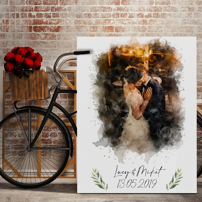 Gift for wife GirlfriendGift Anniversary Canvas Print Custom Watercolor Portrait Canvas portrait from ANY photo Valentin Watercolor gift