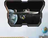 Star Spaceship Space Enterprise Earth Wall Sticker Mural Poster Decal Room Office Nursery Decor ID171