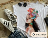 Women s T-shirt, African Woman Face Painted tee - TEE10260CT