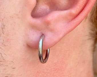 Mens Silver Hoop Earrings - 925 Sterling Silver 15mm Mens Hoop Earrings Or Stainless Steel - Hoops for Men - Earring Sets- By Twistedpendant