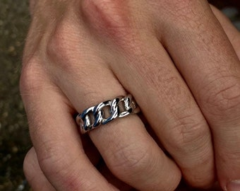 Silver Mens Ring, Silver Cuban Chain Ring Solid Stainless Steel, Mens Ring Silver, Biker Ring, Mens Jewelry Rings By Twistedpendant
