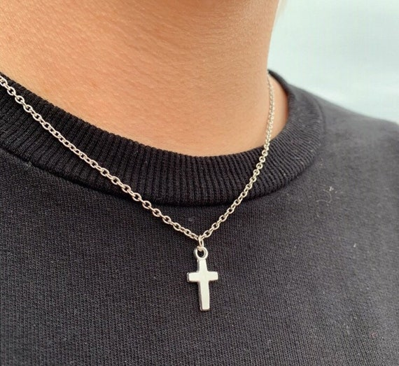 Twistedpendant Silver Cross Necklace Pendant Mens Chain Jewellery Chain  Silver chain for men Stainless steel