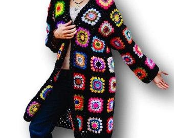 Women sweater cardigan, Hand crochet jacket, Black boho jacket, Black winter jacket, Black bohemian jacket, Black knit jacket,