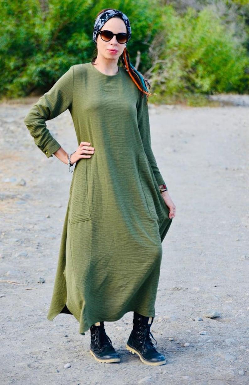 Green maxi dress Green tunic dress Green long sleeve dress Green loose dress Green casual dress Green long dress Green winter dress