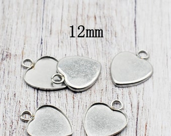 20 Heart Charms Antiqued Bronze Tone Pendants Love Findings 12mm Blanks