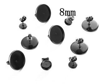 Black tone 8mm tray pendant cabochon setting 10pcs