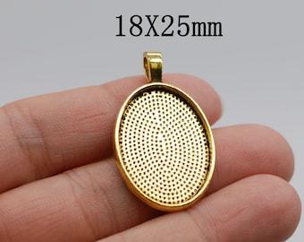 10 pendants Star Gold gilt Tray 25mm cabochon