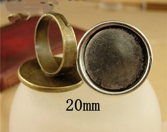 silverbronze 4 rings support double cabochon 12 mm round