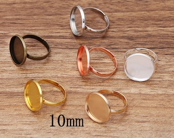 pick your amount brass plated 10mm ring base adjustable ring blank A80