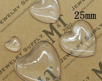 Lot of 10 Cabochons Domes Form Heart transparent glass 10 mm REF:CA33