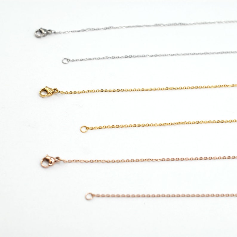 1618202224 Rolo Necklace Chain Wide 1.5mm-Silver Tone 9PCS Stainless Steel Silver Tone Flat Cable Necklace with Lobster Clasp