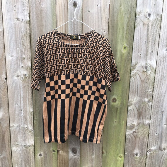 Vintage fendi top t shirt zucca print 90s y2k 2000