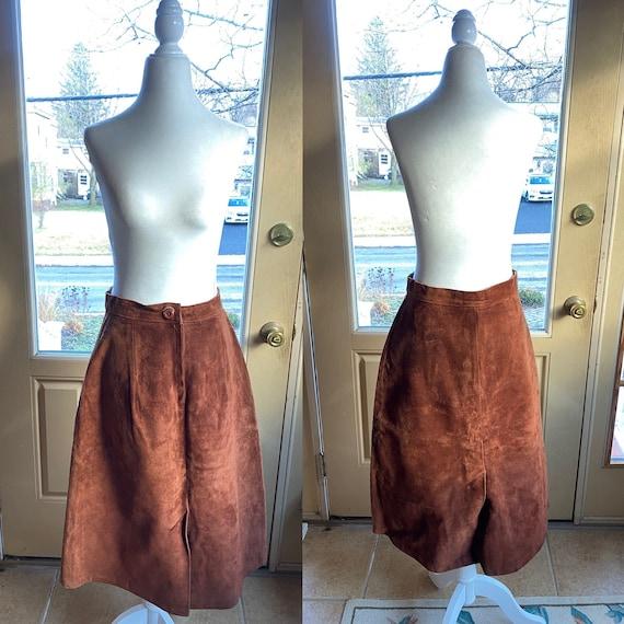 60s/70s brown suede vintage leather skirt/ brown l