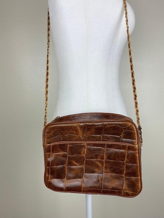 Vintage brown alligator chain link purse/ womens c