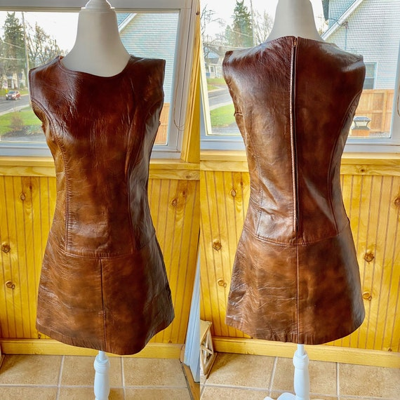 1960s mod brown leather shift dress/ mod leather s