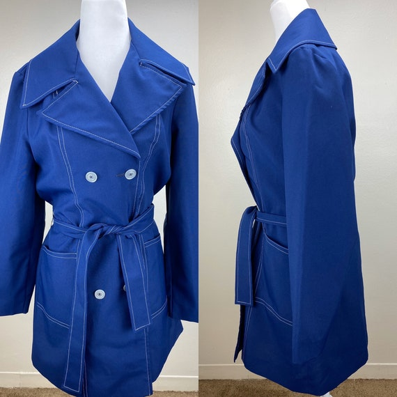 1960s 1970s navy blue jacket with white piping/ vi