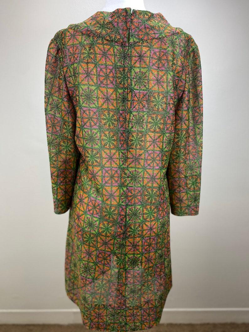 1960s retro semi-sheer sparkly mod dresswomen\u2019s mod green and pink dress women\u2019s dress size M