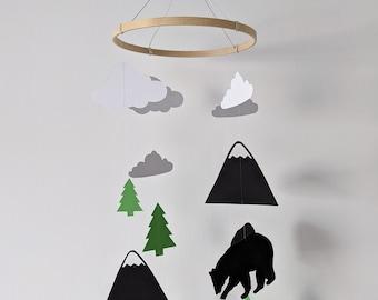 Mobile baby | | Mountain Animals Kirigami, cut paper, papercut