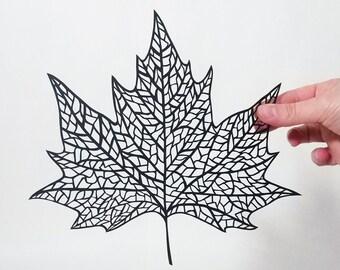Cut paper maple leaf, papercut, kirigami
