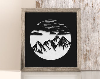 Mountain landscape in cut paper, papercut, kirigami