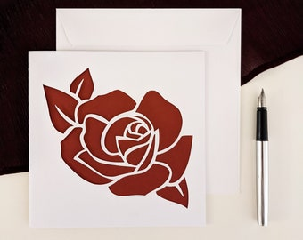 Valentine's Day card, love, greeting card, pink flower birthday card, Papercut, cut paper, kirigami