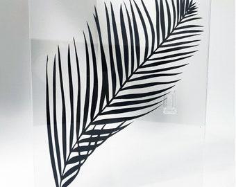 Cut paper palm leaf, papercut, kirigami