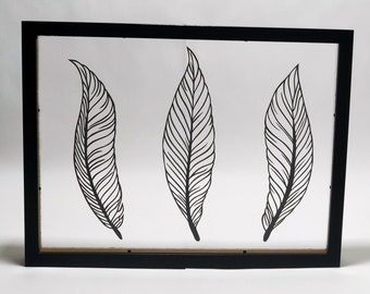 Paper feathers cut out, papercut, kirigami