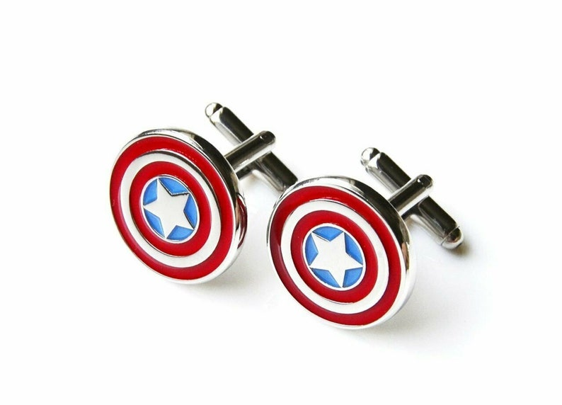 Superhero Cufflinks with Personalised Engraved Chrome Case