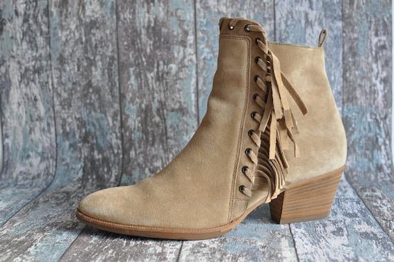 Vintage Black Suede Tassel Boots Western Cowboy Ranch Boots US 7 UK 5