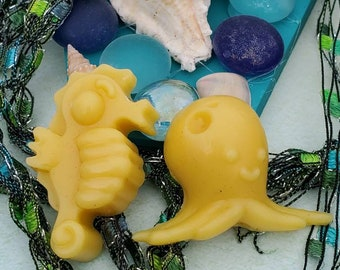 Seahorse and Octopus Lotion Bar Party Favors for Ocean, Beach or Vacation Themed Party, Ready to Give in Satchet with Tag