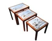 Set of 3 Vintage Toften Mobelfabrikken Danish Mid-Century Modern Tile Top Nesting Tables