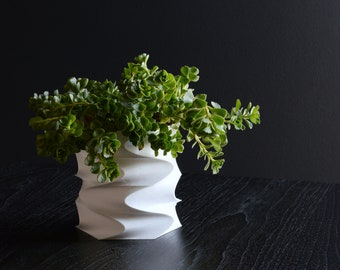 Geometric Modern Planter |  Minimalist 3D printed Indoor Succulent Pot