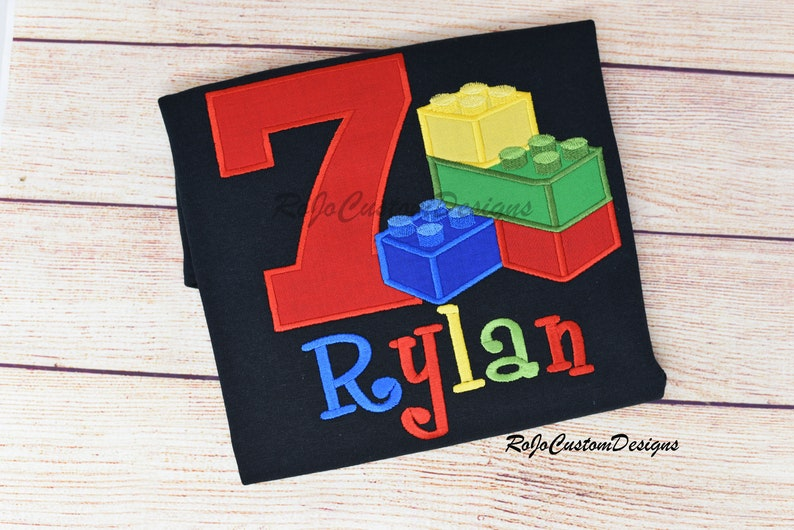 Blocks Birthday Shirt/Colored Blocks Shirt/Birthday image 0
