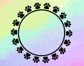 Dog Paw Circle SVG Dog Monogram SVG Paw Print Frame SVG Paw Print Svg Paw Monogram Svg Cut Files For Cricut - Silhouette