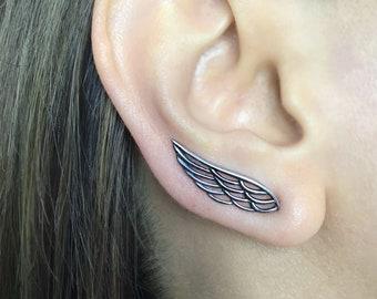 Angel wings crawler earrings, Angel wings earring, Wings earrings, Gothic earrings, ear crawler, ear climber, angel wings jewelry