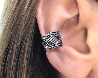 Celtic Braid Ear cuff, gothic ear cuff, stainless steel earrings, gothic jewelry, gothic earrings,Braided ear cuff, Celtic cuff earring