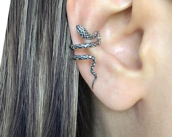 Snake Ear cuff in Sterling Silver , gothic ear cuff, Snake ear cuff,  snake earring, serpent ear cuff