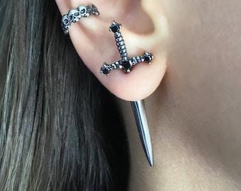 Sword earrings, dagger earrings, Front back earrings, stainless steel earring, gothic jewelry, ear jacket, sword ear jacket, dagger earrings